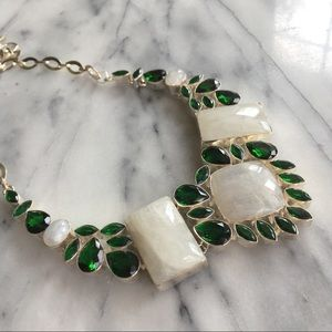 Jewelry - Moonstone & Green Crystal Statement Necklace